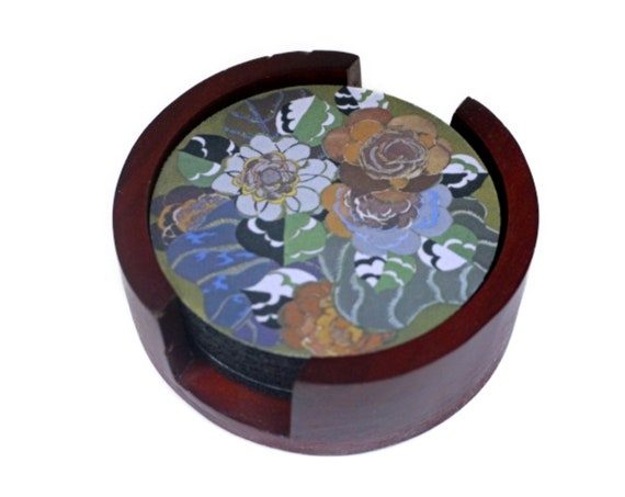 Floral Art Deco Art Nouveau Coaster Set of 5 with Wood Holder