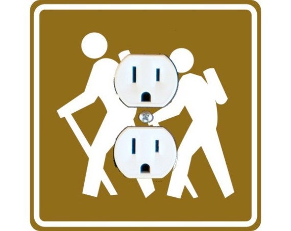 Hiking Road Sign Square Duplex Outlet Plate Cover