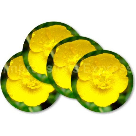 Buttercup Flower Coasters - Set of 4