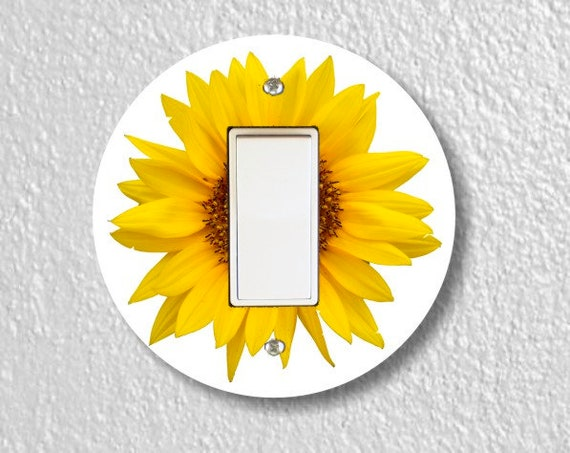 Sunflower Flower Round Decora Rocker Light Switch Plate Cover