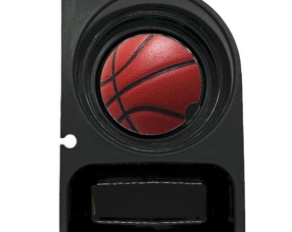 Burgundy Basketball Sport Round Sandstone Car Cupholder Coaster
