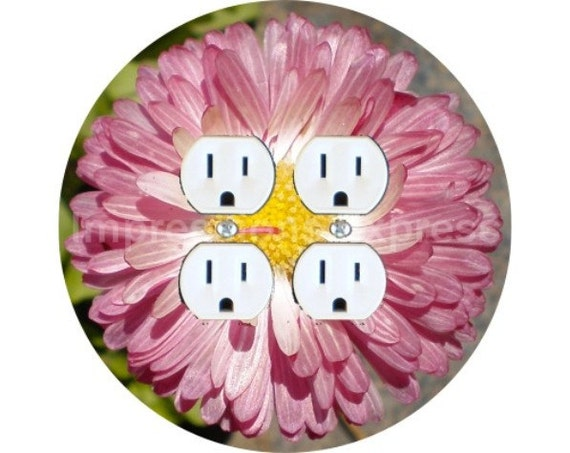 Pink Daisy Flower Double Duplex Outlet Plate Cover