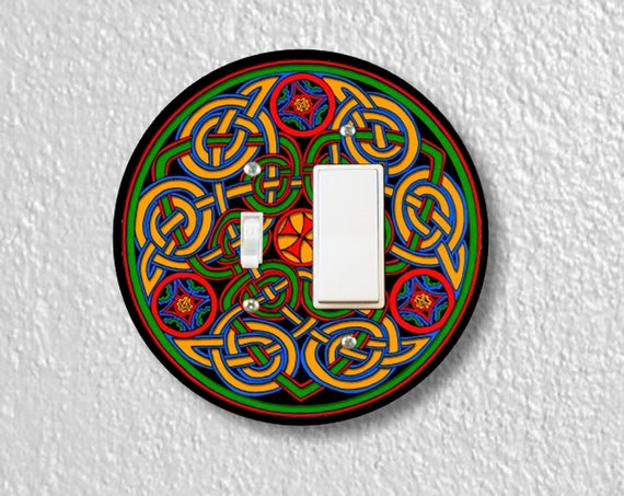 Precision Laser Cut Toggle and Decora Rocker Round Light Switch Plate Cover - Celtic Knot - Home Decor - Wallplates