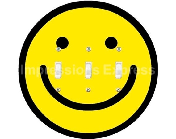 Smiley Face Triple Toggle Switch Plate Cover