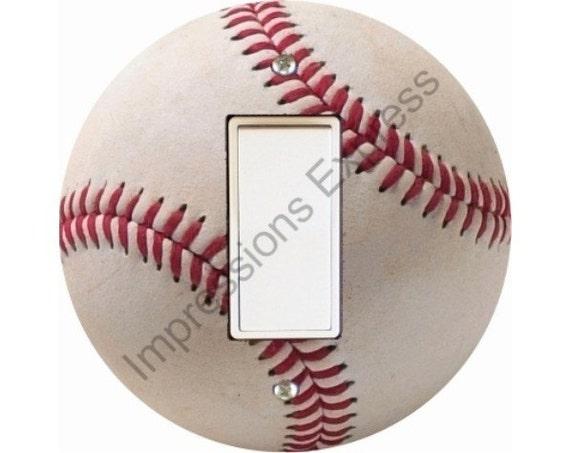 White Baseball Decora Rocker Switch Plate Cover