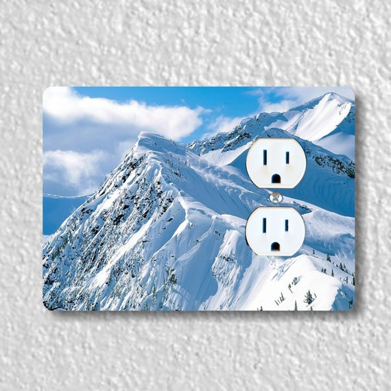 Snowy Mountains Precision Laser Cut Duplex and Grounded Outlet Wall Plate Covers