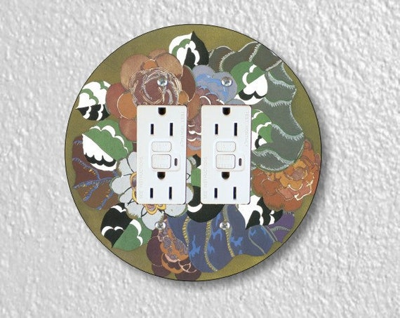 Floral Art Deco Art Nouveau Round Double GFI Grounded Outlet Plate Cover