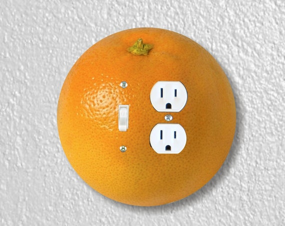Orange Fruit Precision Laser Cut Round Toggle Light Switch and Duplex Outlet Double Wall Plate Cover