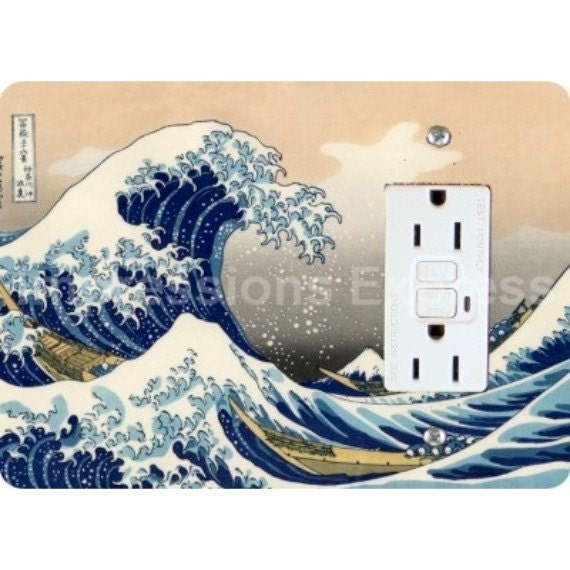 Kanagawa Great Wave Hokusai Painting GFI Grounded Outlet Plate Cover