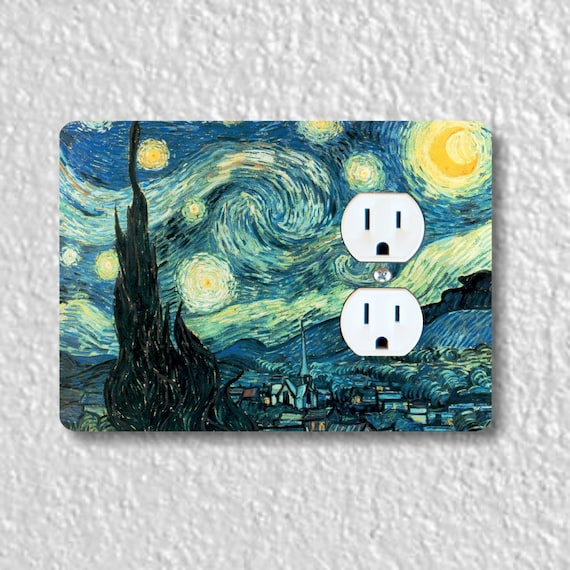 Starry Night Van Gogh Painting Precision Laser Cut Duplex and Grounded Outlet Wall Plate Covers