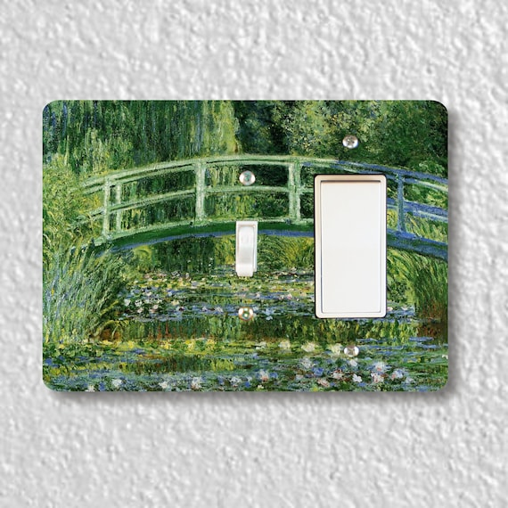 Precision Laser Cut Toggle and Decora Rocker Double Light Switch Plate Cover - Water Lilies Japanese Bridge Monet - Wall Decor - Wallplate