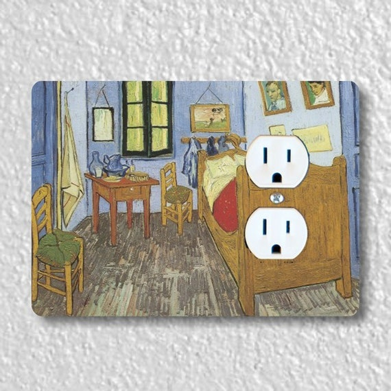 The Bedroom Van Gogh Painting Precision Laser Cut Duplex and Grounded Outlet Wall Plate Covers
