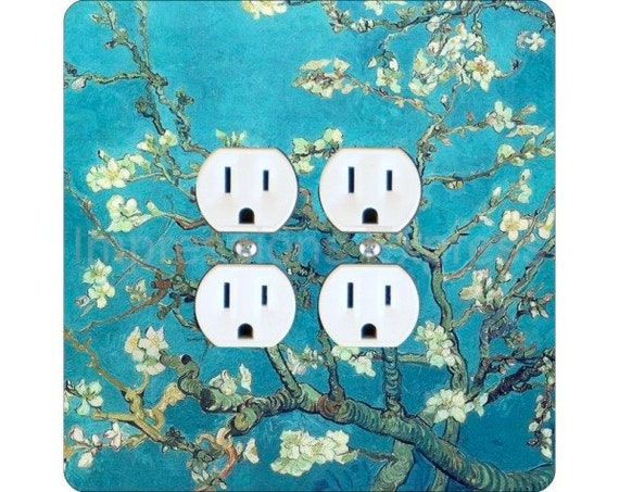Vincent Van Gogh Almond Branches Painting Square Double Duplex Outlet Plate Cover