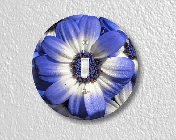Precision Laser Cut Toggle And Decora Rocker Round Light Switch Plate Covers - Blue Daisy Flower - Home Decor - Wallplates