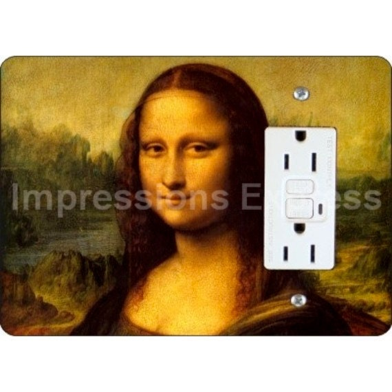 Mona Lisa Da Vinci Painting GFI Grounded Outlet Plate Cover