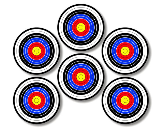Glossy Archery Target Round Cork Backed Coasters (Set of 6)