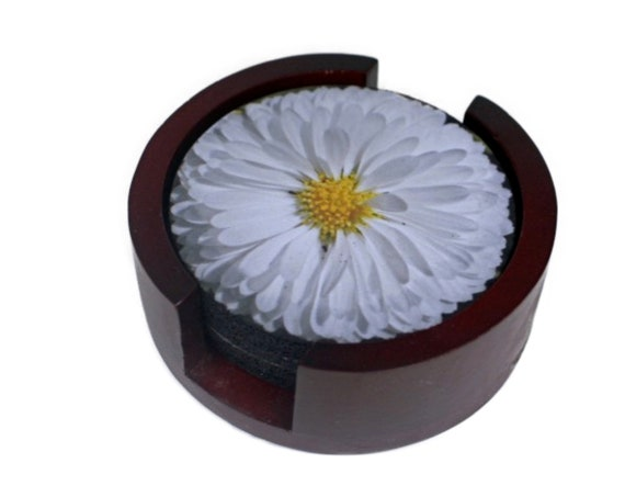 White Daisy Flower Coaster Set of 5 with Wood Holder