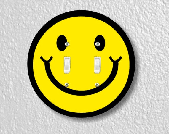 Smiling Face Round Double Toggle Light Switch Plate Cover