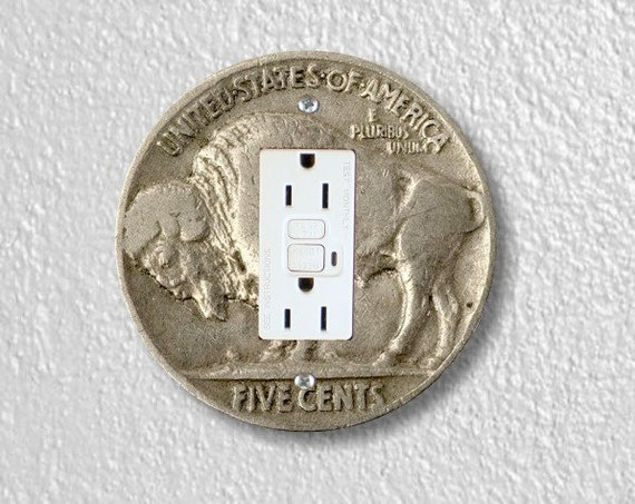 Buffalo Nickel Coin Grounded GFI Outlet Plate Cover