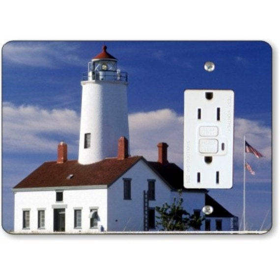 Lighthouse Nautical Grounded GFI Grounded Outlet Plate Cover