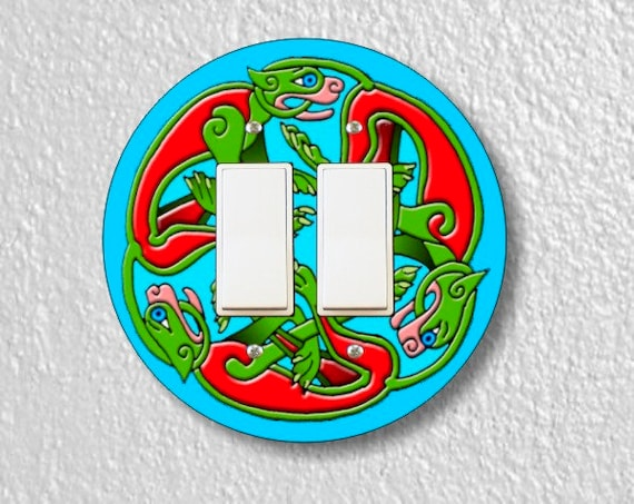 Celtic Dragon Round Double Decora Rocker Light Switch Plate Cover