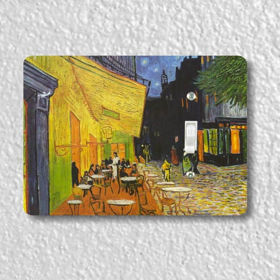 Precision Laser Cut Toggle And Decora Rocker Light Switch Plate Covers - Café Terrace At Night Van Gogh Painting - Home Decor - Wallplates