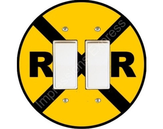 Railroad Crossing Sign Decora Double Rocker Switch Plate Cover