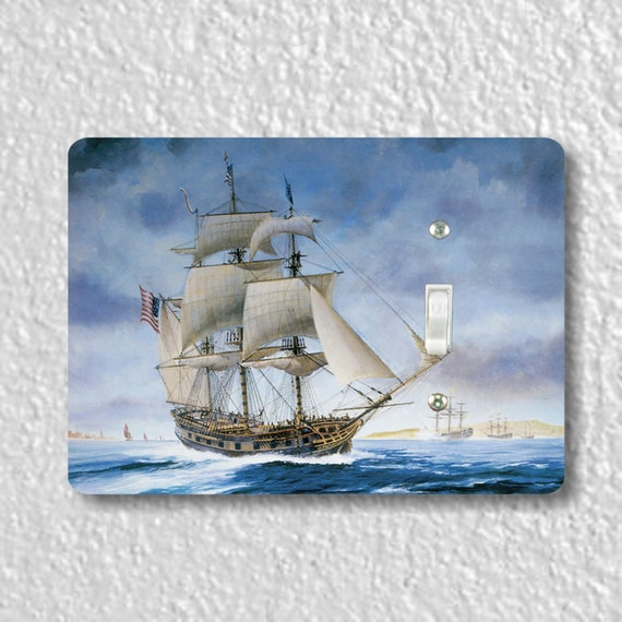 USS Ranger Tall Sailing Ship Nautical Precision Laser Cut Toggle and Decora Rocker Light Switch Wall Plate Covers