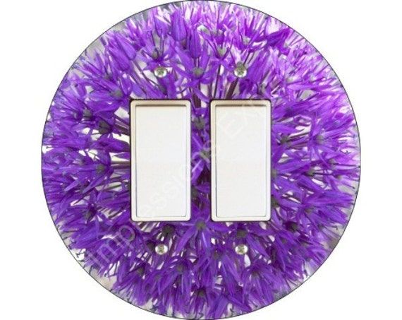 Purple Allium Flower Decora Double Rocker Switch Plate Cover
