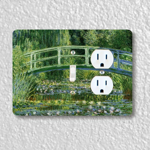 Precision Laser Cut Toggle Light Switch and Duplex Outlet Double Plate Cover - Water Lilies Japanese Bridge Monet - Home Decor - wallplate