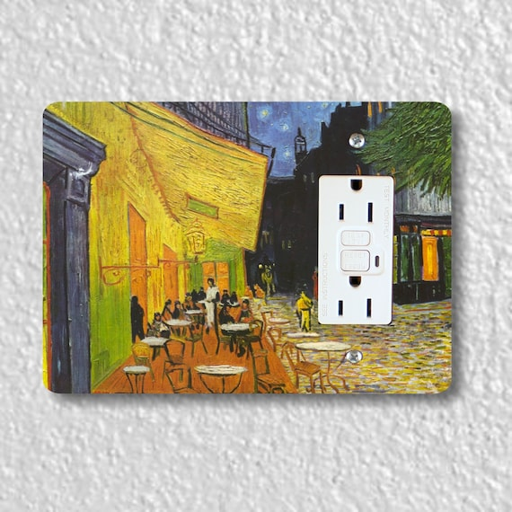 Café Terrace at Night Van Gogh Painting GFI Grounded Outlet Plate Cover