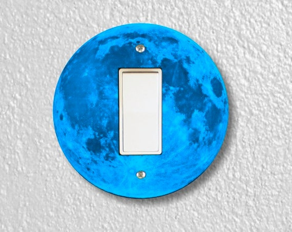 Blue Moon Round Decora Rocker Switch Plate Cover