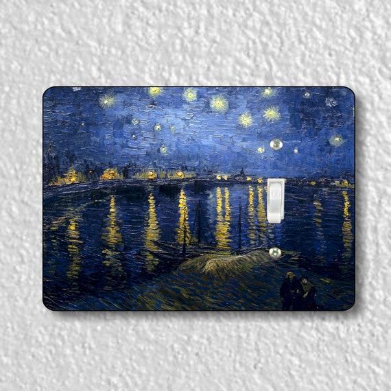 Starry Night On The Rhone Van Gogh Art Painting Precision Laser Cut Toggle and Decora Rocker Light Switch Wall Plate Covers
