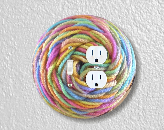 Pastel Knitting Wool Yarn Precision Laser Cut Toggle Switch and Duplex Outlet Round Double Wall Plate Covers