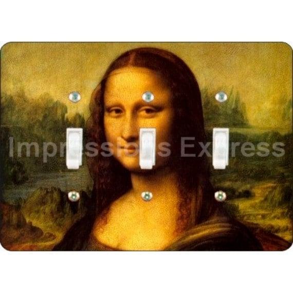 Mona Lisa Da Vinci Painting Triple Toggle Light Switch Plate Cover