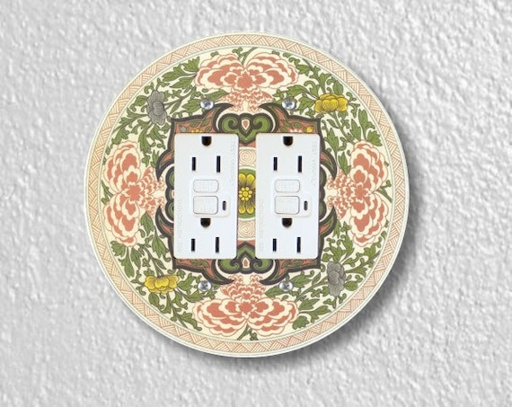 Chinese Ornament Round Double GFI Grounded Outlet Plate Cover