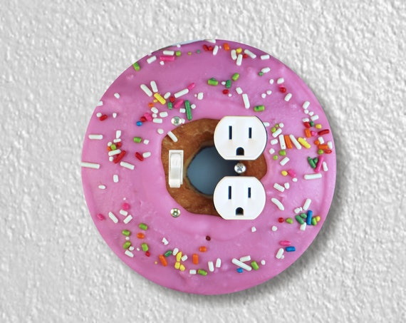 Pink Doughnut Precision Laser Cut Round Toggle Switch and Duplex Outlet Double Plate Cover