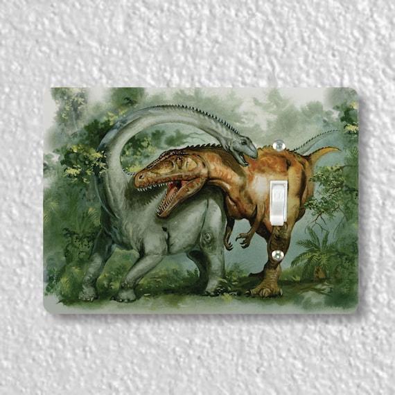 Precision Laser Cut Toggle And Decora Rocker Light Switch Plate Covers - Rebbachisaurus & Giganotosaurus Dinosaur - Home Decor - Wallplates
