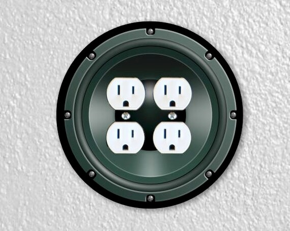 Black Music Loudspeaker Round Double Duplex Outlet Plate Cover