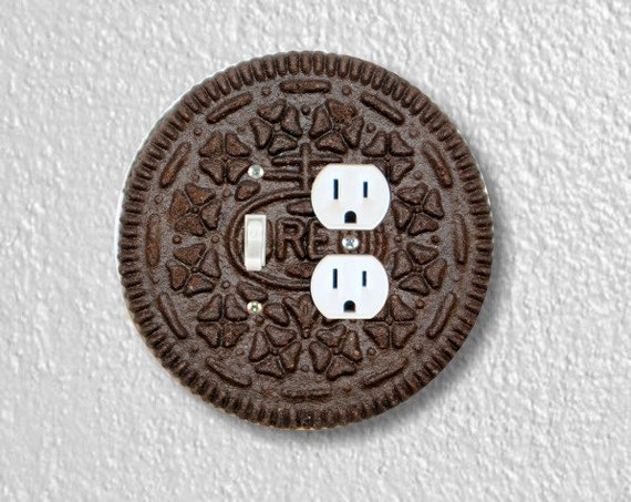 Chocolate Sandwich Cookie Round Toggle Switch and Duplex Outlet Double Plate Cover