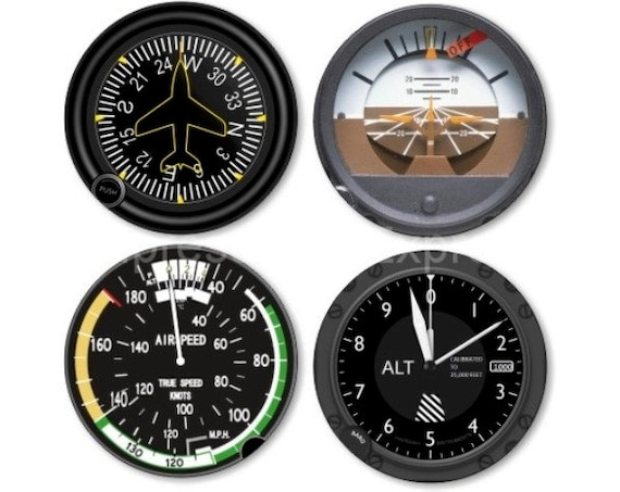 Altimeter Airspeed Attitude Direction Indicator Aviation Coasters - Set of 4