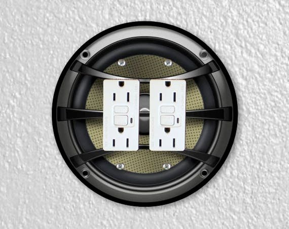 Audio Music Speaker Round Double Grounded GFI Outlet Plate Cover
