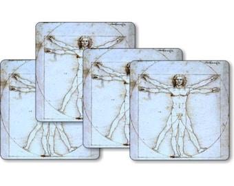Vitruvian Man Da Vinci Drawing Square Coasters - Set of 4