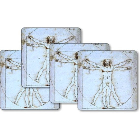 Vitruvian Man Da Vinci Drawing Square Coasters - Set of 4