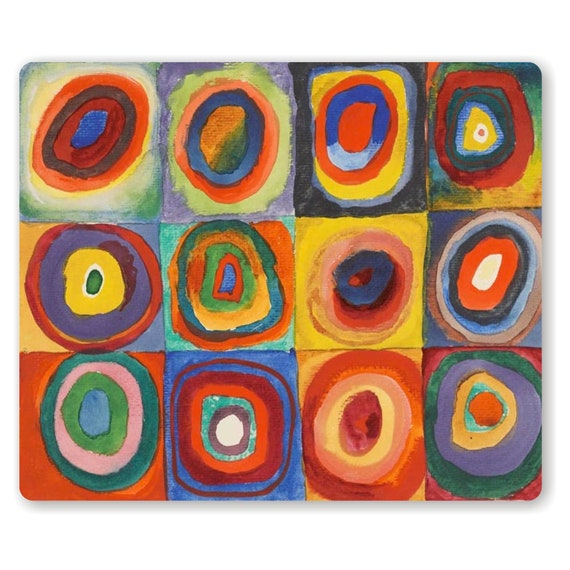 Kandinsky Squares with Concentric Circles Painting Mousepad