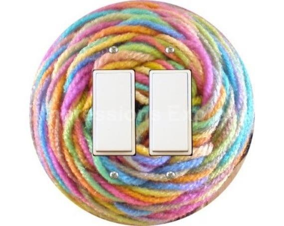 Pastel Knitting Wool Yarn Decora Double Rocker Switch Plate Cover