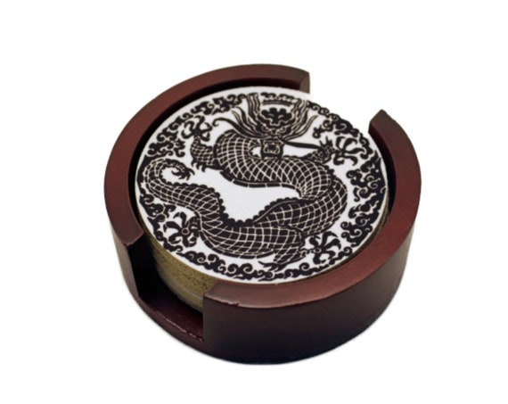 Oriental Dragon Round Coaster Set of 5 with Wood Holder