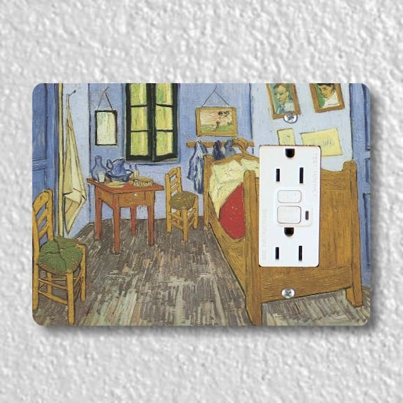 The Bedroom Van Gogh Painting GFI Grounded Outlet Plate Cover