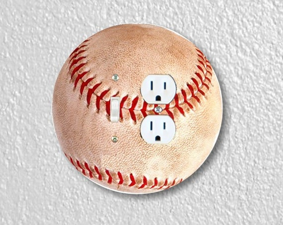 Baseball Ball - Precision Laser Cut Round Toggle Light Switch and Duplex Outlet Double Plate Cover - Home Decor - Wall Plate