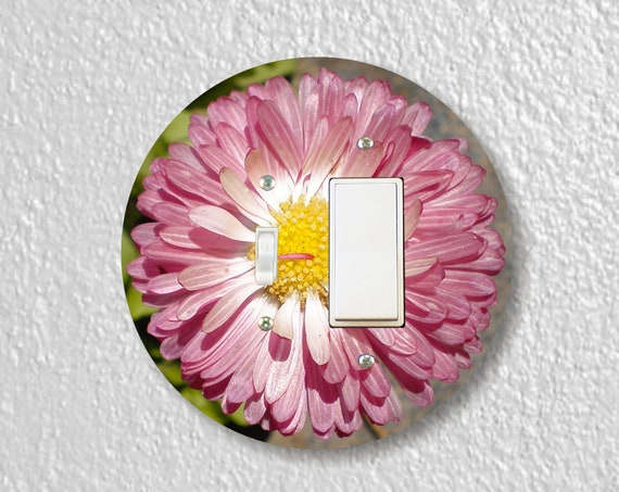 Pink Daisy Flower Precision Laser Cut Round Toggle and Decora Rocker Light Switch Wall Plate Cover